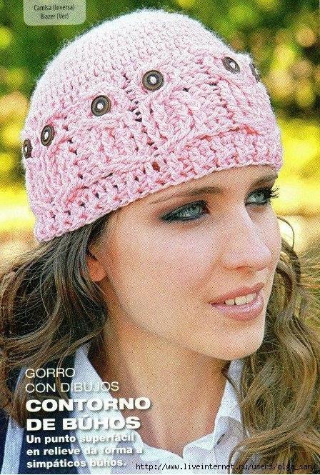 Gorro Contorno de Búhos   Crochet - Hats   Pinterest   Contornos ...