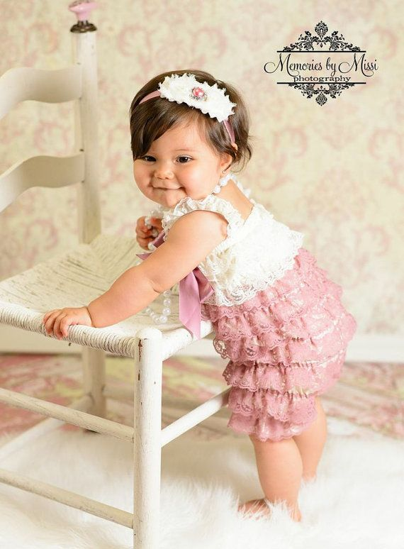 7660381215c7 Dusty Ivory Rose Lace Romper romper baby girls by HappyBOWtique