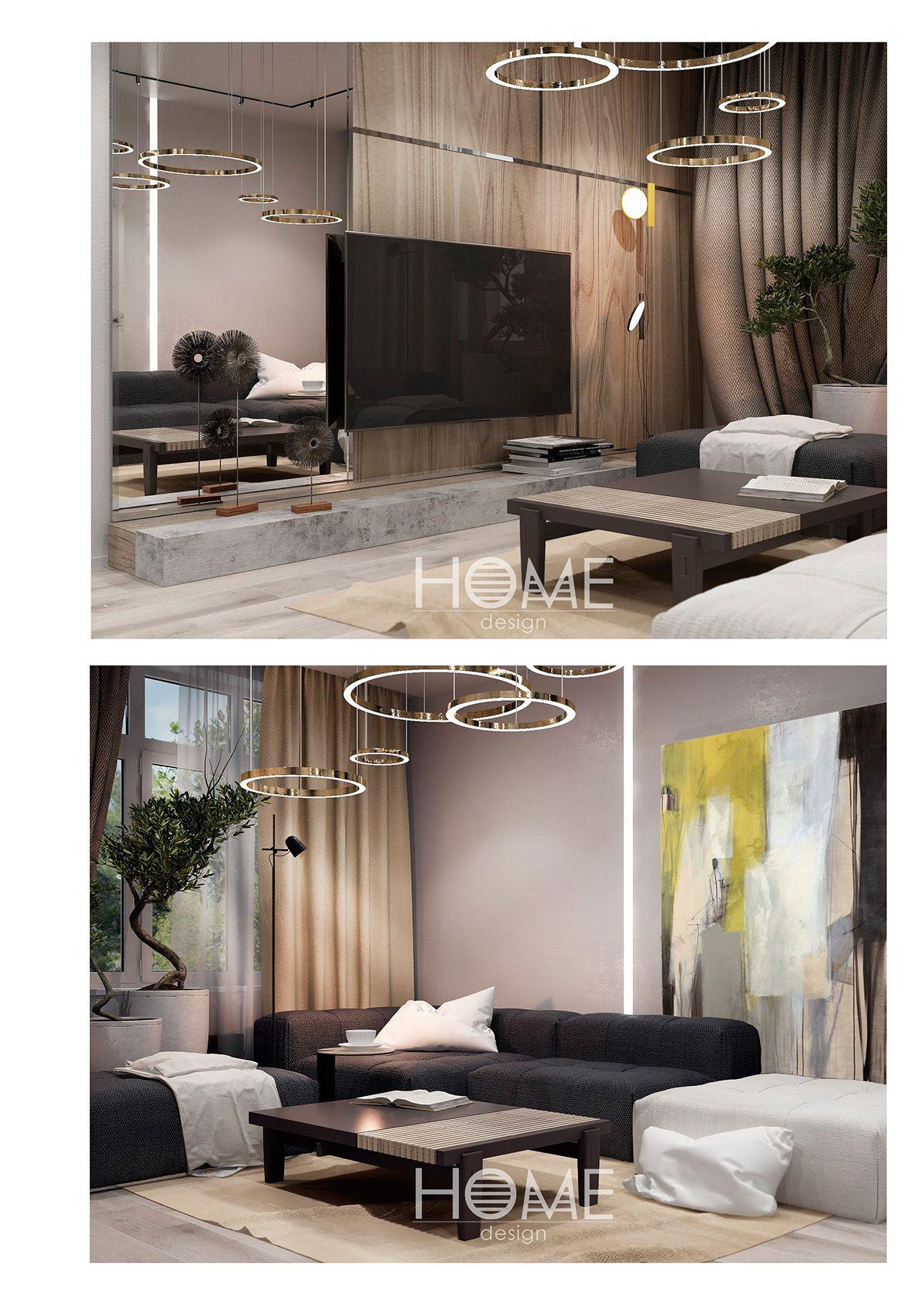 Small apartment in modern style. Современный стиль. on