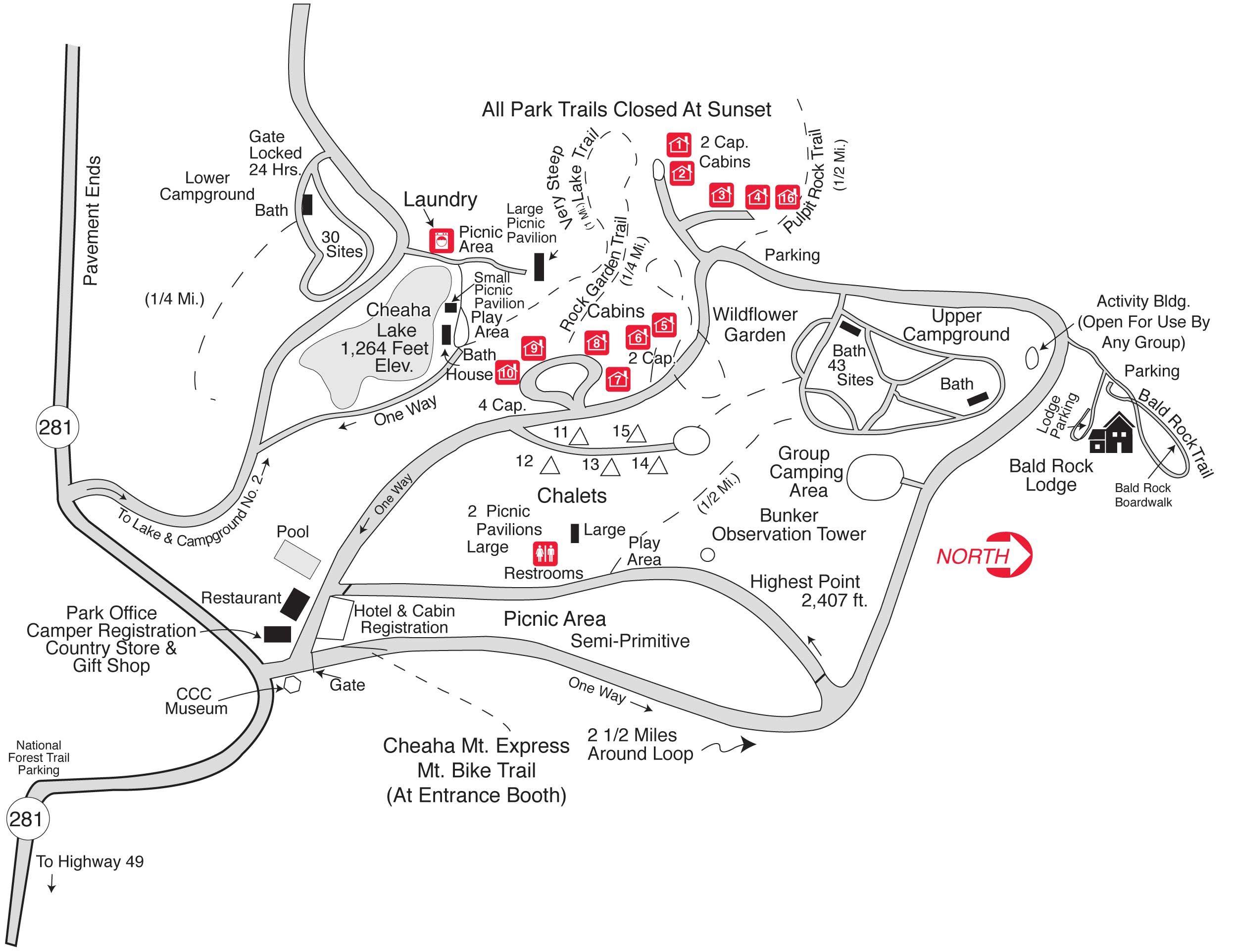 Cheaha Map Park Trails Picnic Area Lake Garden