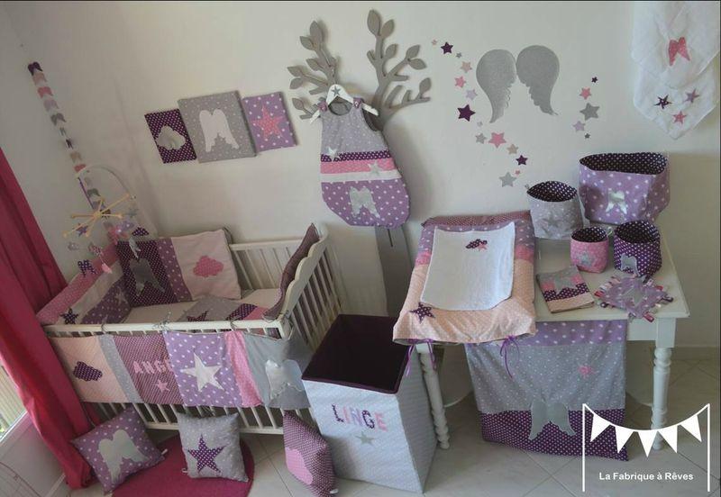 textile décoration chambre bébé fille mauve violet parme rose argent ...