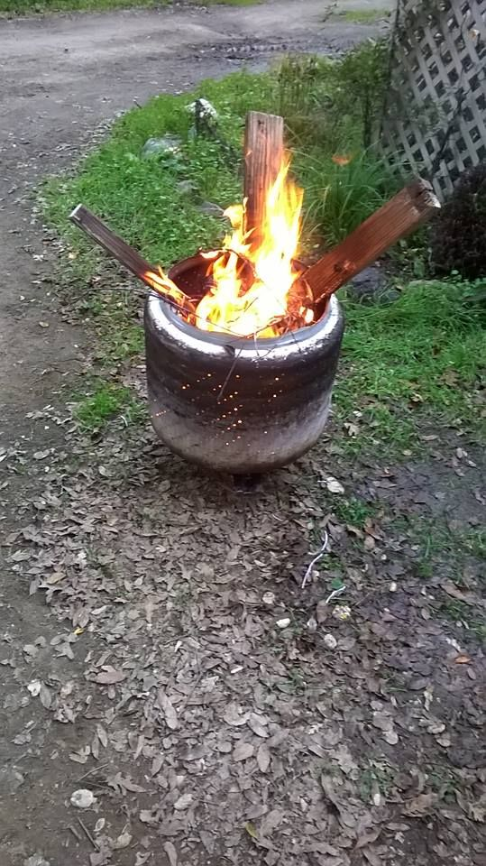 Our upcycled firepit!!! Made from our old washer drum! ~~~<3H.