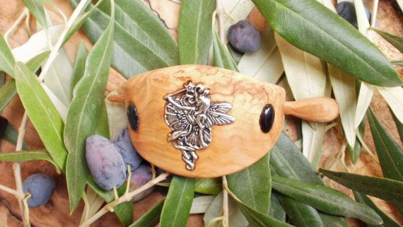 Olive Wood hair buckle inlaid with Tibetan by ellenisworkshop, $59.00