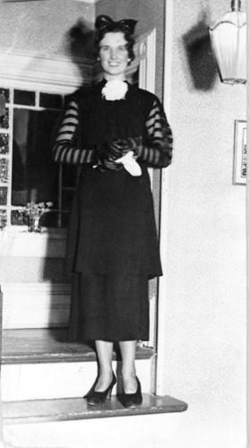 Photograph Snapshot Vintage Black and White: Woman Smile Bow Dress Fancy 1930's