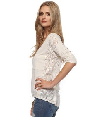 Heathered Lace Top in Oatmeal from Forever 21