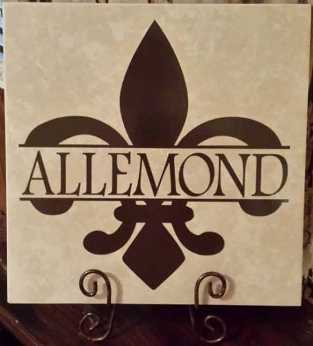 Ceramic Tile 12x12 Personalized With Split Fleur De Lis And Last Name Wall Vinyl Decor Tile Crafts Silhouette Cameo Projects