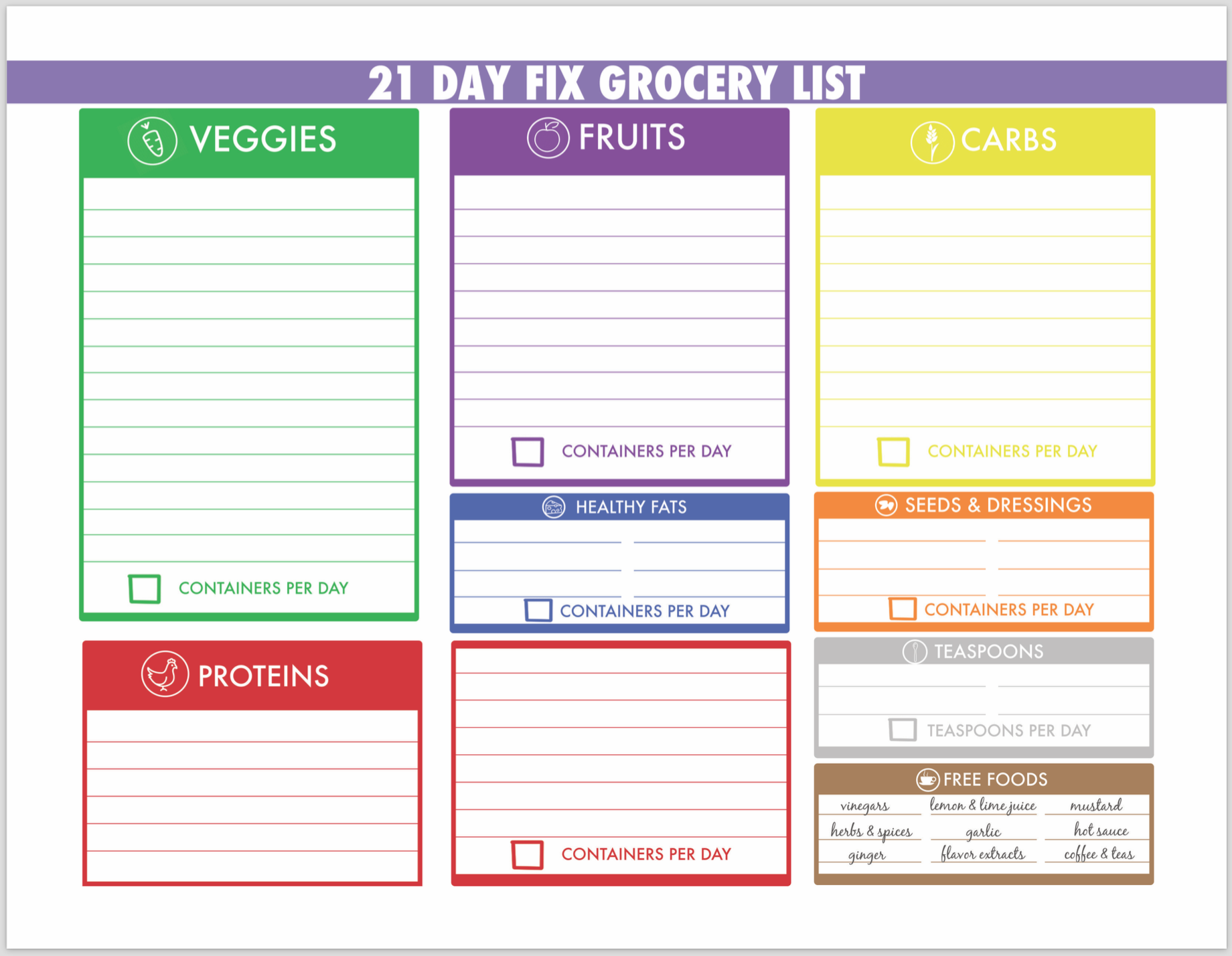 Blank Grocery List With Free Foods Written In