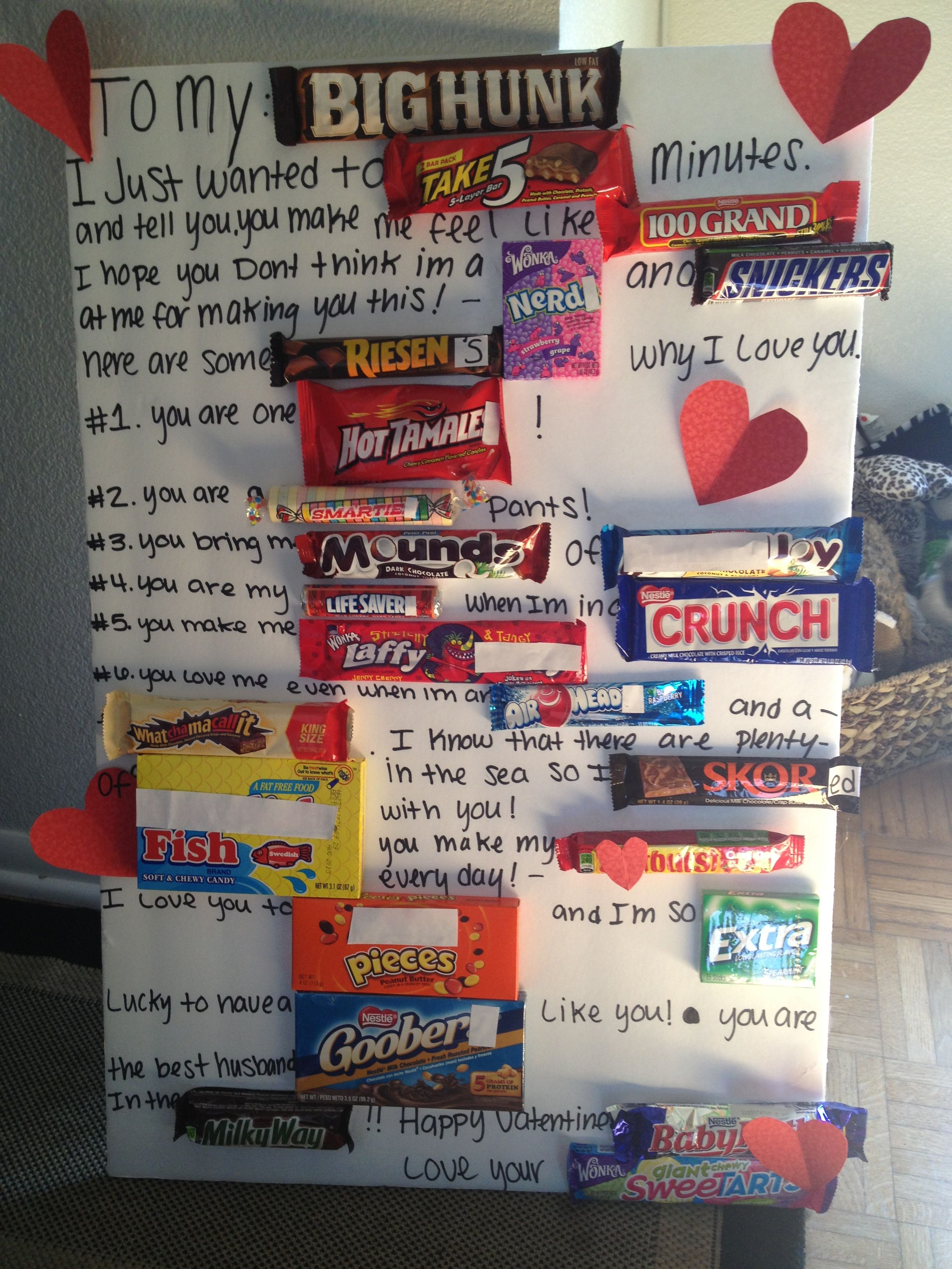 Candy gram/poster/card. Made it for valentines day
