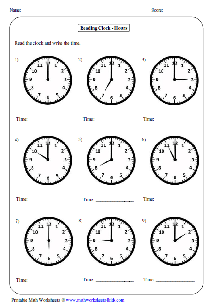 Time worksheets year 1