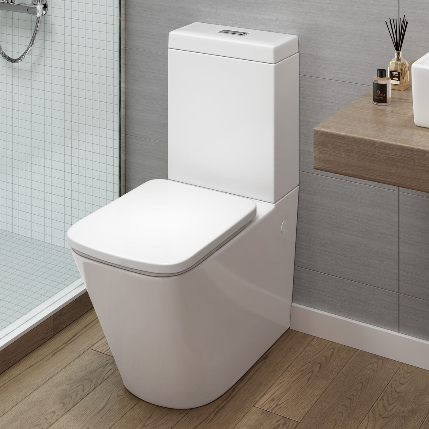 modern close coupled toilet and cistern  florence square design  - modern close coupled toilet and cistern  florence square design