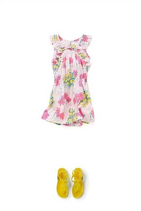 Frill Floral Dress and Jelly Sandal