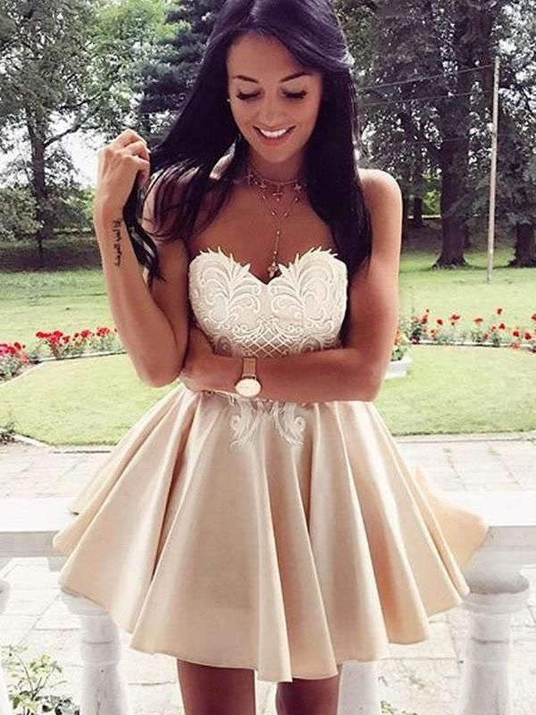 b73bc5961cc Sweetheart Lace Empire Homecoming Dresses,Short Prom Dresses - SheerGirl  Cute Homecoming Dresses, A