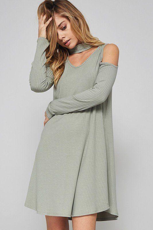 Cutout Rib Dress #chokerdress #ribdress #dress #mint #green #dresses #fashion
