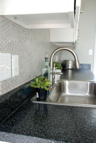 Gray Round Ceramic Penny Tile, Kitchen Backsplash (how To!