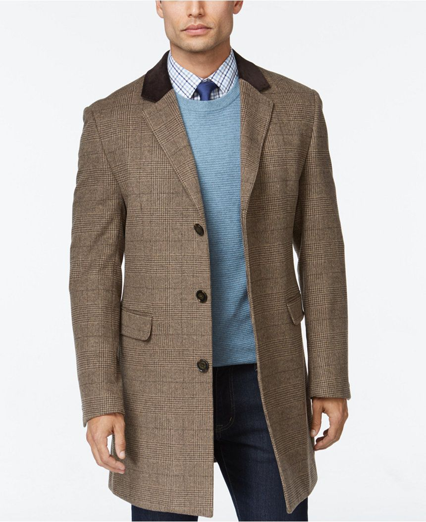 b95b49a6a Lauren Ralph Lauren Loring Brown Plaid Chesterfield Overcoat - Coats    Jackets - Men - Macy s
