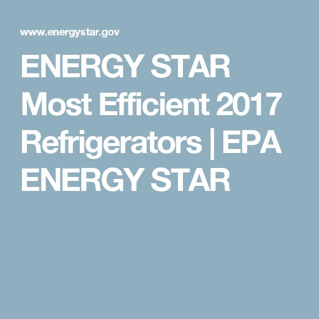 Energy Star Most Efficient 2017 Refrigerators Epa