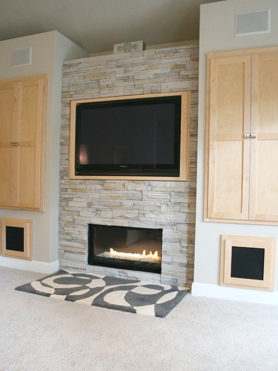 Spaces Electric Fireplace With Above Flatscreen Design Pictures