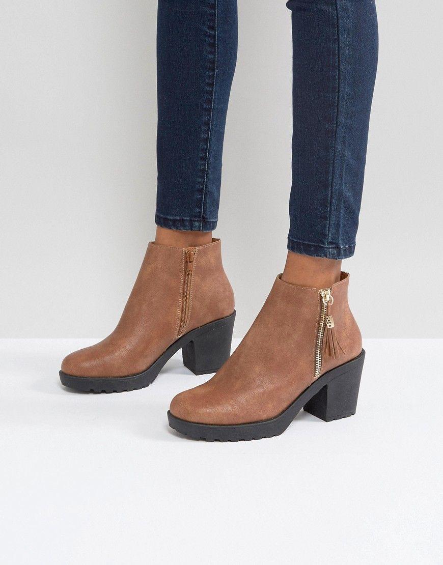 1de1856e9224 Boohoo Zip Side Chunky Heel Ankle Boot - Tan