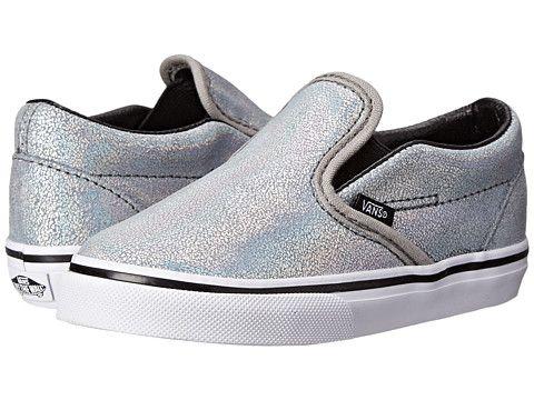 e2e0e9b250ad1a Vans Kids Classic Slip-On (Toddler) (Matte Iridescent) Silver ...
