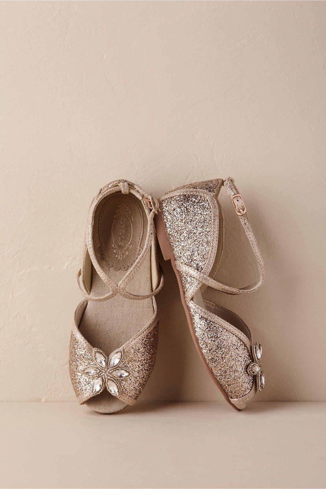 Aubree Glitter Flats from BHLDN Flower girl shoes gold