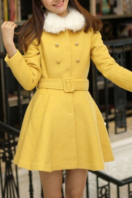 Sweet Faux Fur Collar Fit and Flared Coat