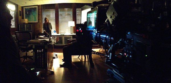 Andrew Bikichky @AndrewBikichky  4/5/16 Shooting in the Captain's Office with walls removed for camera placement Ep816 #Castle
