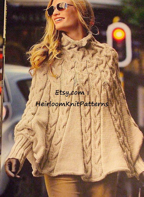 4448675ee825 Women s Swinging Cabled Poncho Knitting Pattern PDF Aran Poncho ...