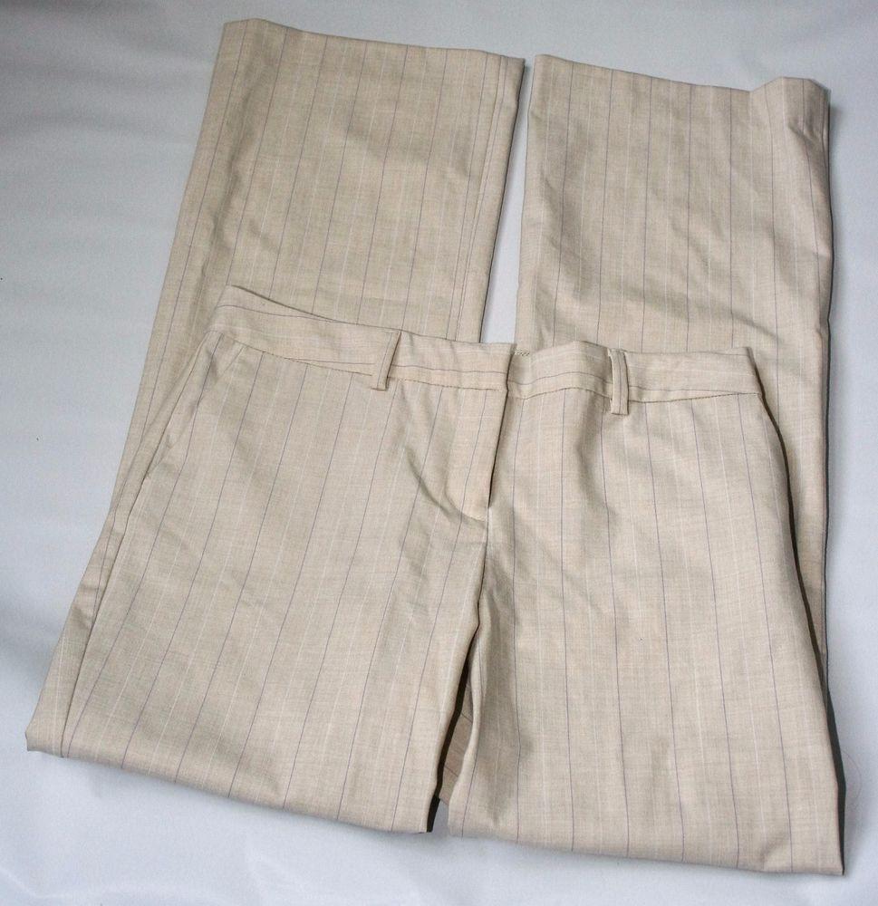Isaac Mizrahi for Target Tan Pinstripe Dress Pants Size 2 Front Pockets Bootcut #IsaacMizrahi #DressPants