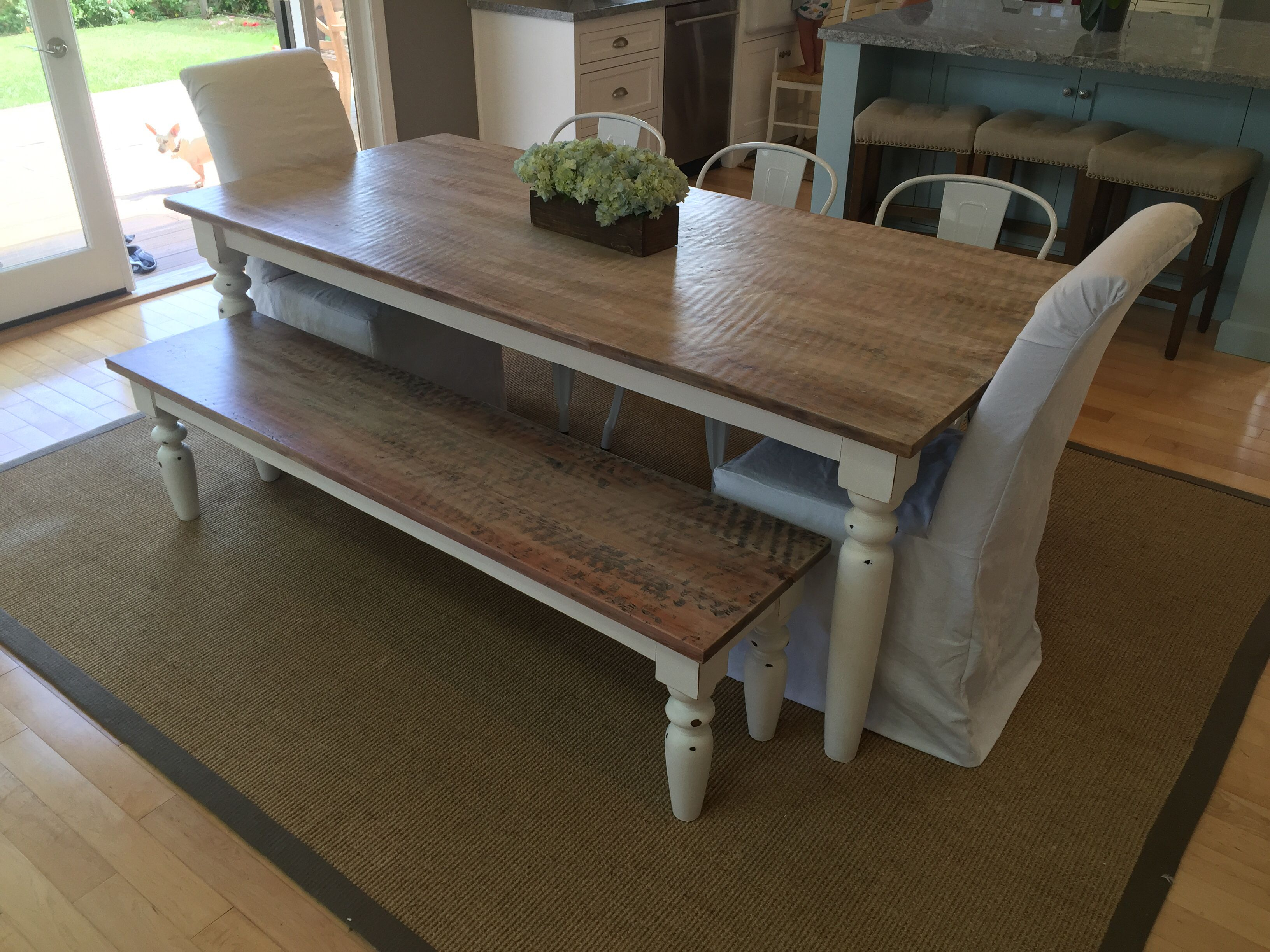 Diy Farm Table Refinished Sanded White Washed And Finished With