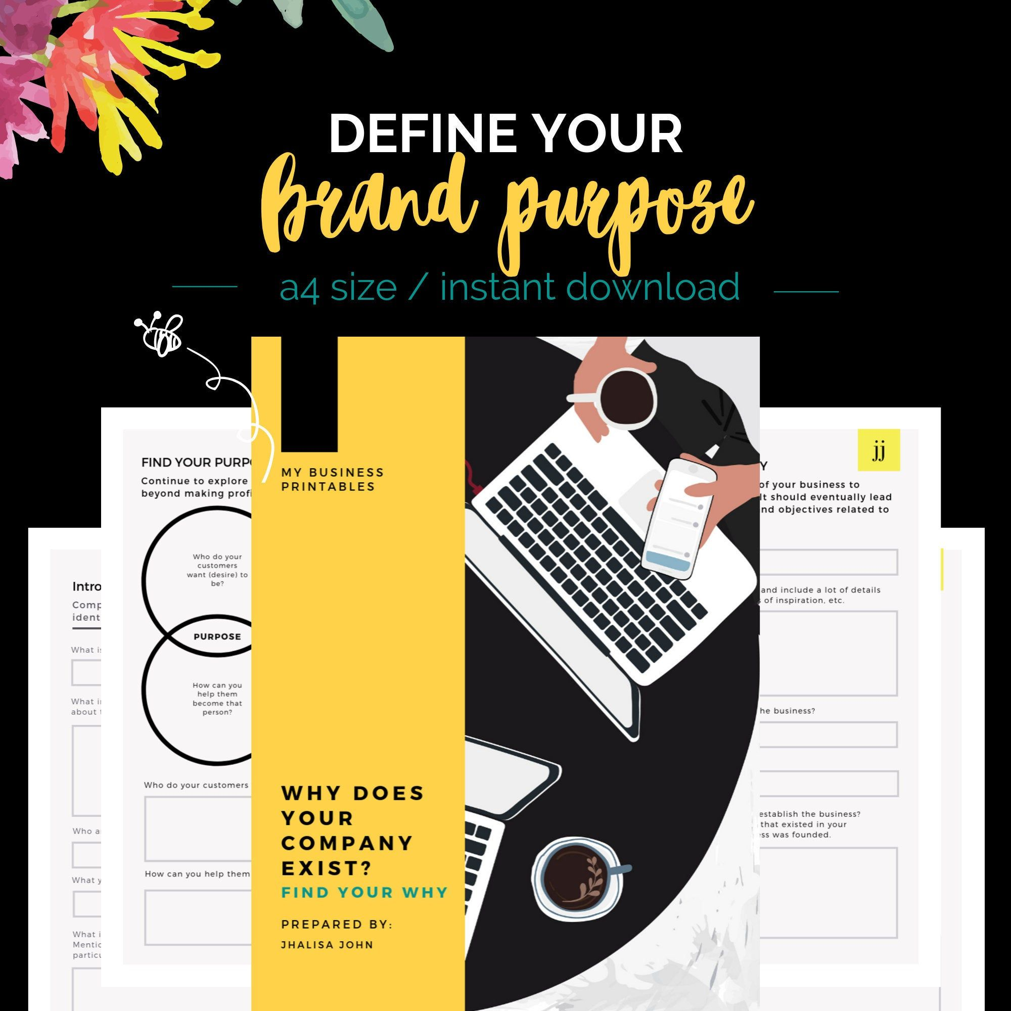 Brand Company Purpose Statement Printable Workbook