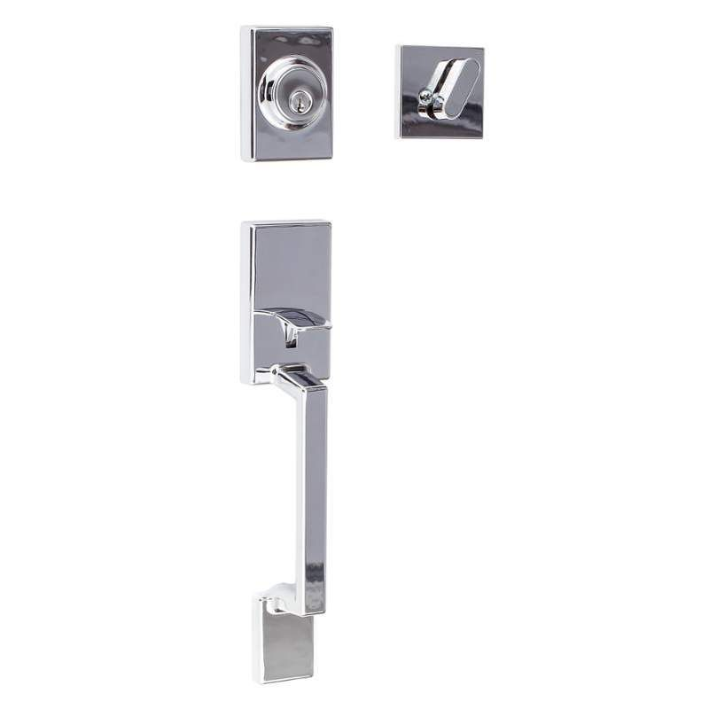 Miseno MHDW-S507SH-32D Satin Stainless Naples Single Cylinder Keyed Entry Handleset with Square Thumb Turn - Handlesets.com