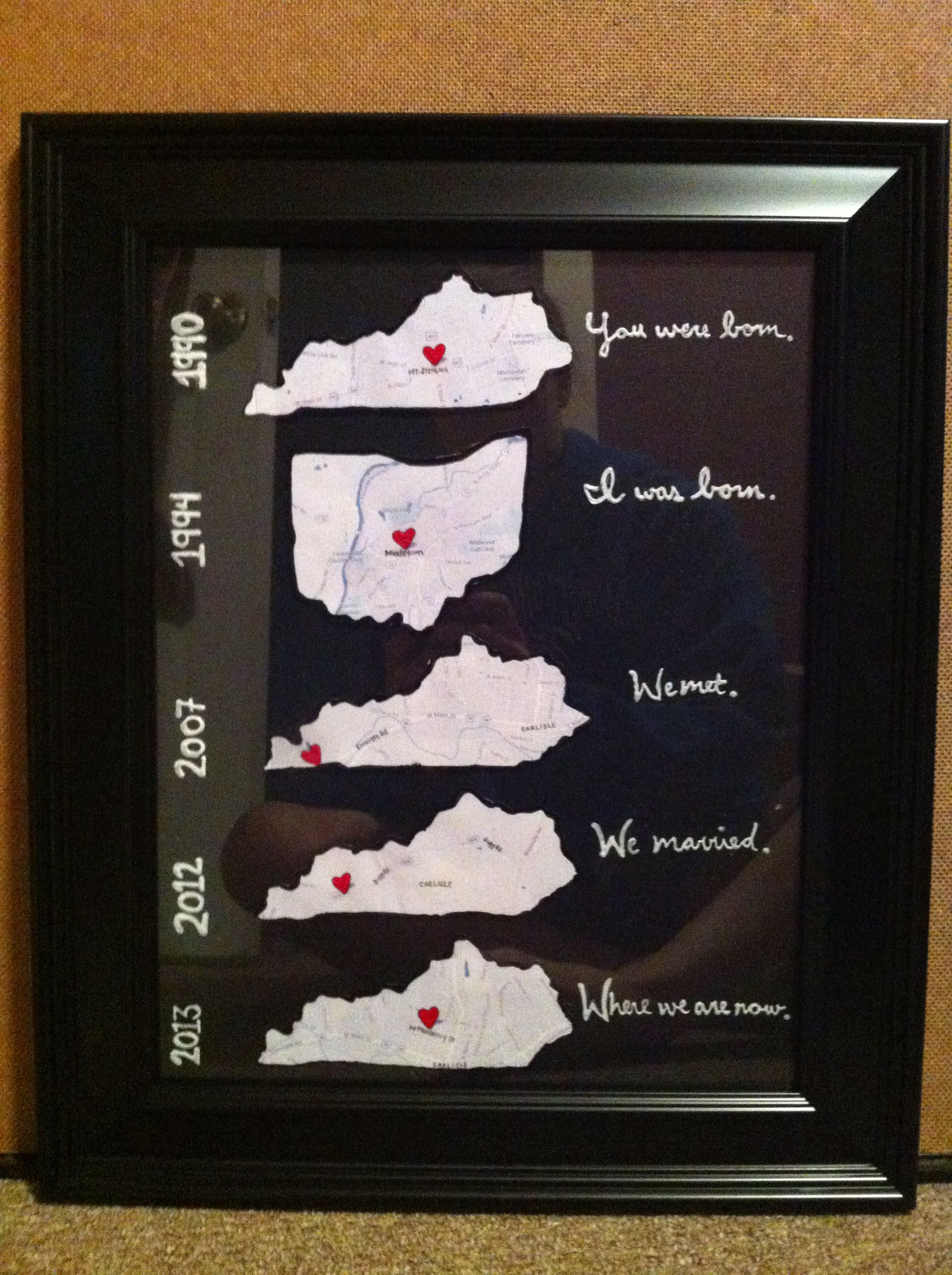 1st year anniversary gift paper maps zoomed in of where