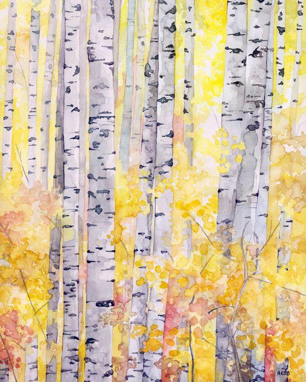 Arbres De Bouleau Peinture Impression De Mon Original Peinture L 39 Aquarelle Le Bois Dor
