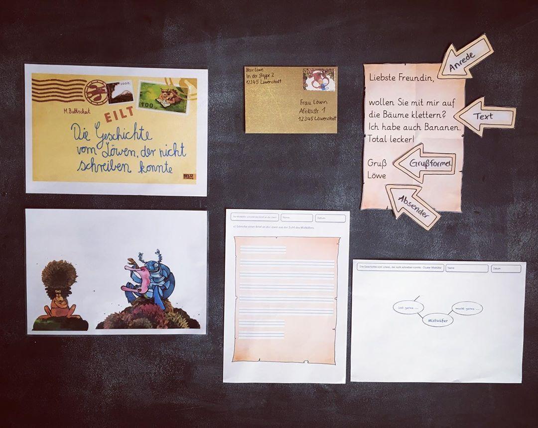 Die Geschichte Vom Lowen Der Nicht Schreiben Konnte Brief Schreiben Grundschule Briefe Schreiben Grundschule