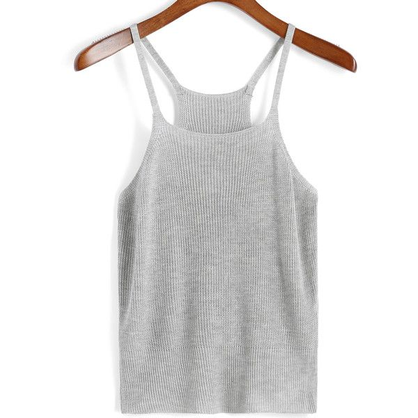 Spaghetti Strap Knit Grey Cami Top ($11) ❤ liked on Polyvore featuring tops, grey, gray tank top, knit tank, spaghetti strap tank top, sweater pullover and gray camisole