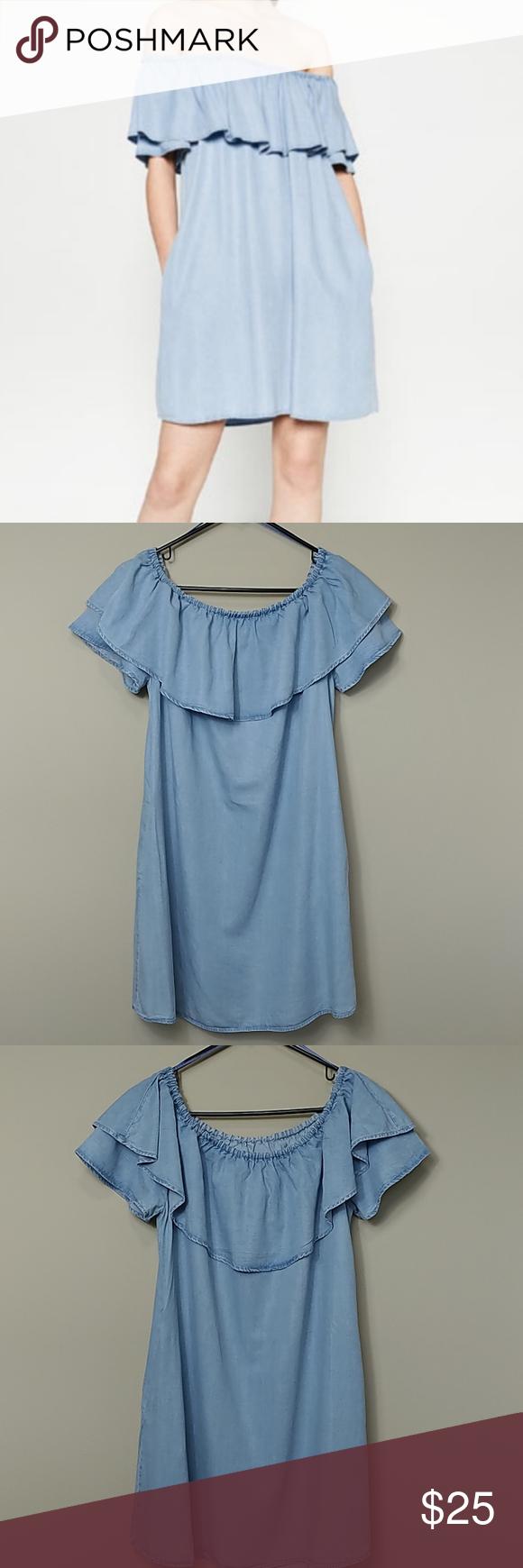 Zara Blue Chambray Ruffle Denim Dress M Zara Chambray Blue Off The Shoulder Denim Dress This Is A Zara Premium Denim Ruffle Dress Denim Dress Clothes Design [ 1740 x 580 Pixel ]