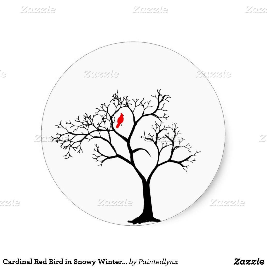 Cardinal Red Bird In Snowy Winter Tree Classic Round