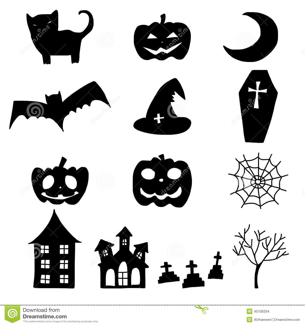 Related image Halloween silhouettes, Halloween doodle