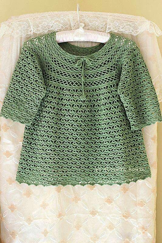 Pin de Tina Beckley en Crochet | Pinterest | Tejido, Vestidos bebe y ...