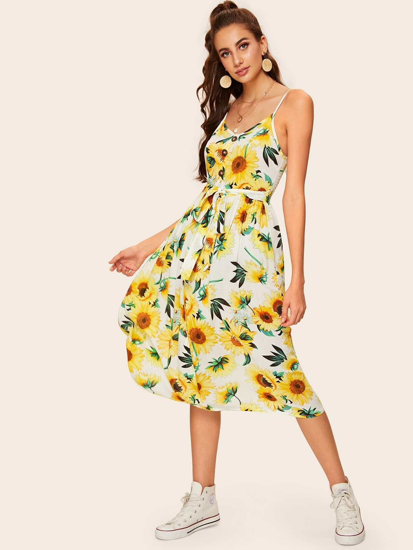 Floral print knotted midi dress