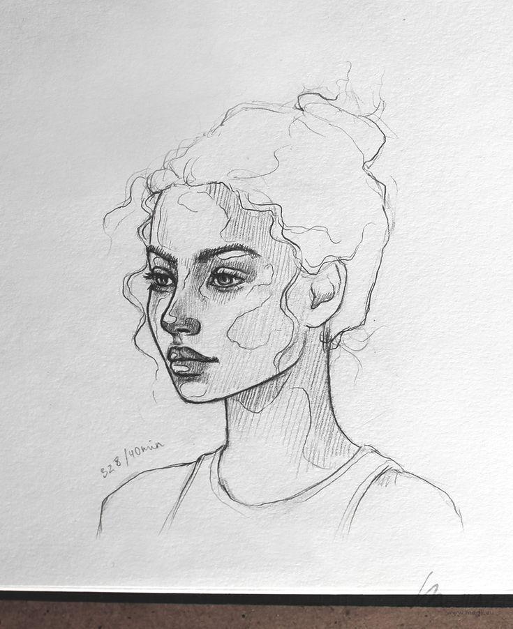 : Meine Skizzenbuchkunst Ich zeichne Mädchen Ich Süßes verträumtes Porträt ...