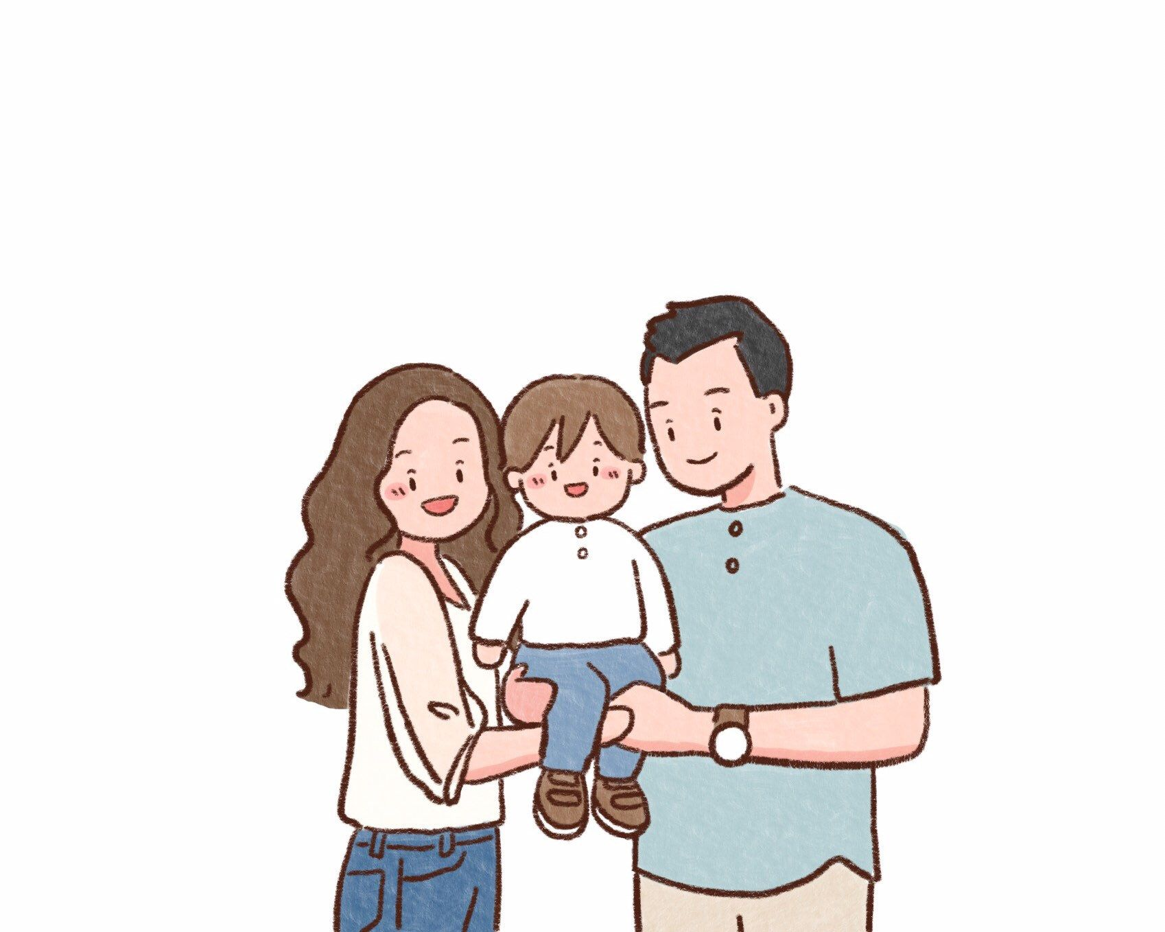 Waist Up Family Portrait Family Drawing Anniversary Gifts Etsy Family Drawing Family Illustration Family Cartoon