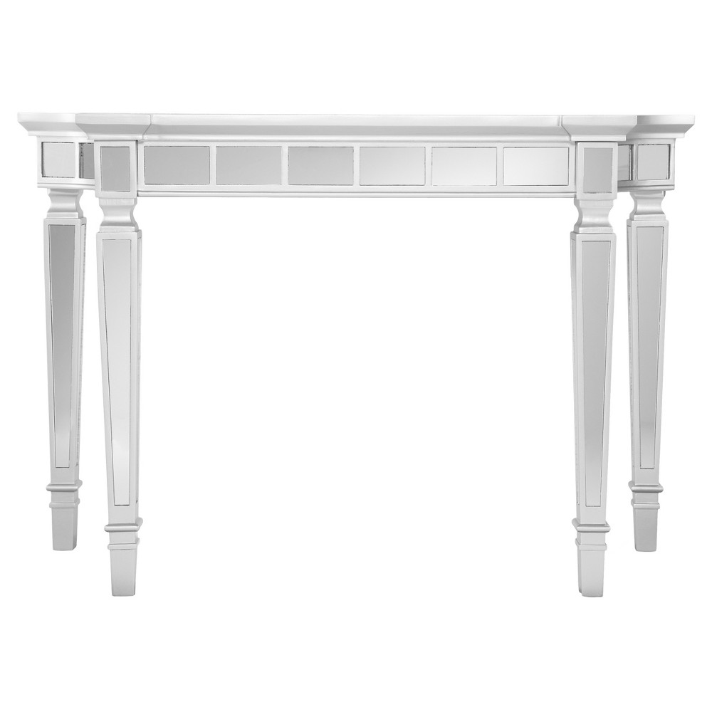 Glenrose Glam Mirrored Console Table Matte Silver Aiden Lane Mirror Console Mirrored Console Table Glam Mirror