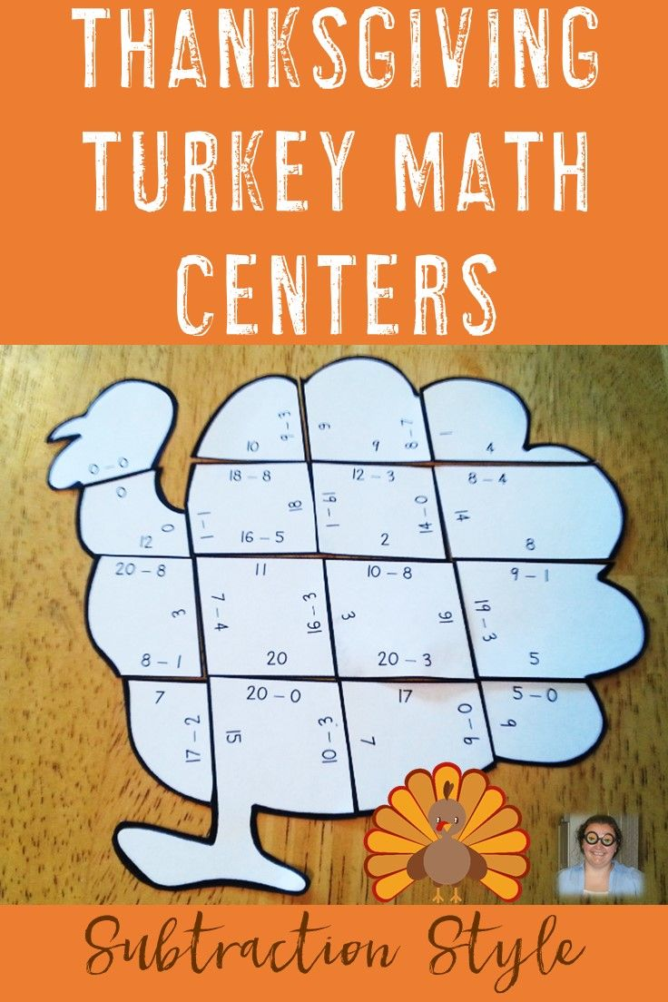 Uncategorized Turkey Puzzles thanksgiving centers activities turkey subtraction puzzles