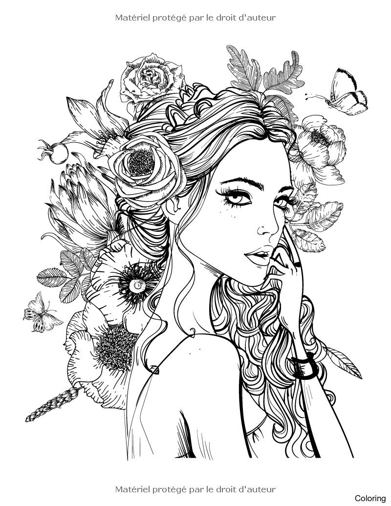 Girl Coloring Pages For Adults Faces Coloring Book For Grown Ups