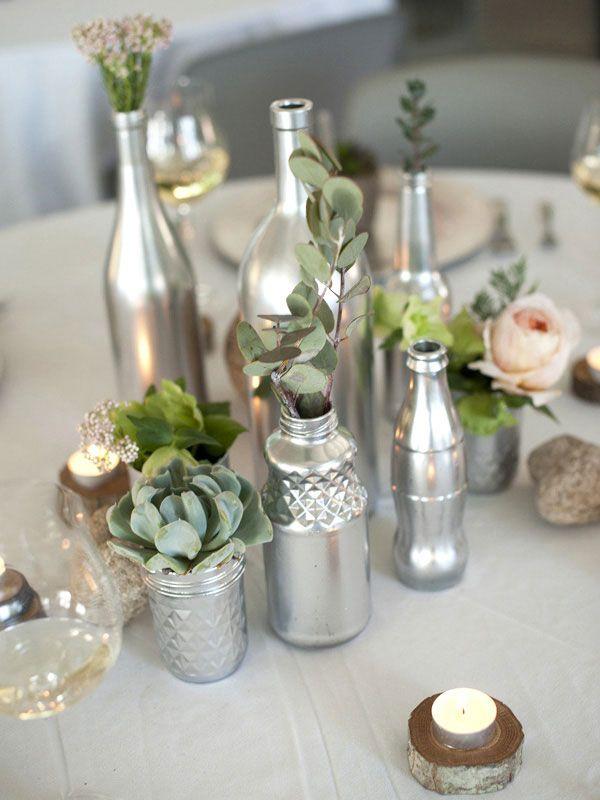 Floral Diy Wine Bottle Centerpiece Home Centerpieces Pinterest