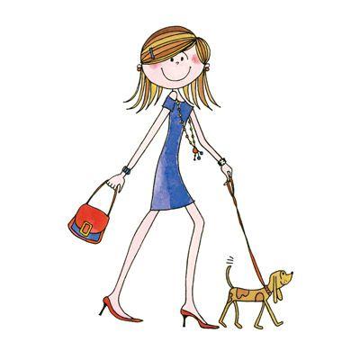 dibujo de chica paseando su perro | Imagens for print ...