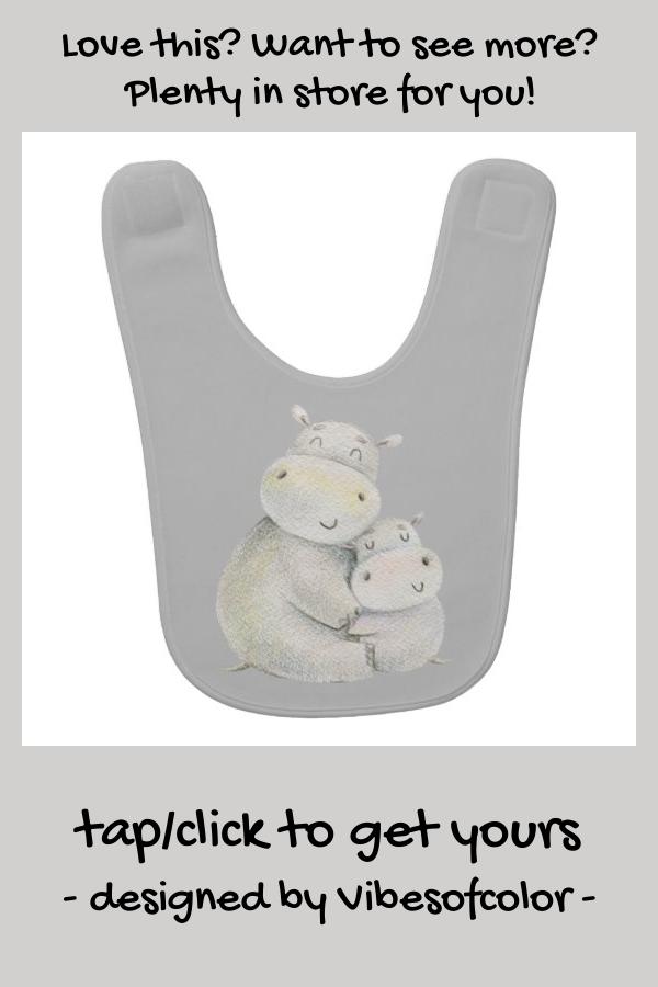 Mommy And Baby Hippo Baby Bib | Zazzle.com