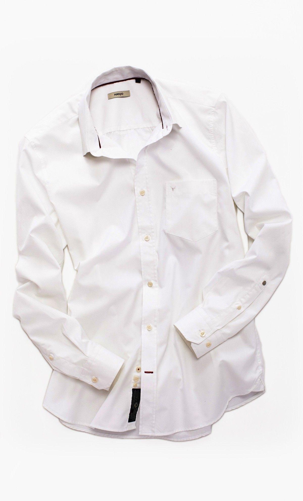Chemise Popeline Coton Homme Style Mode Blanche Uni 100 rtpwWgTrqH