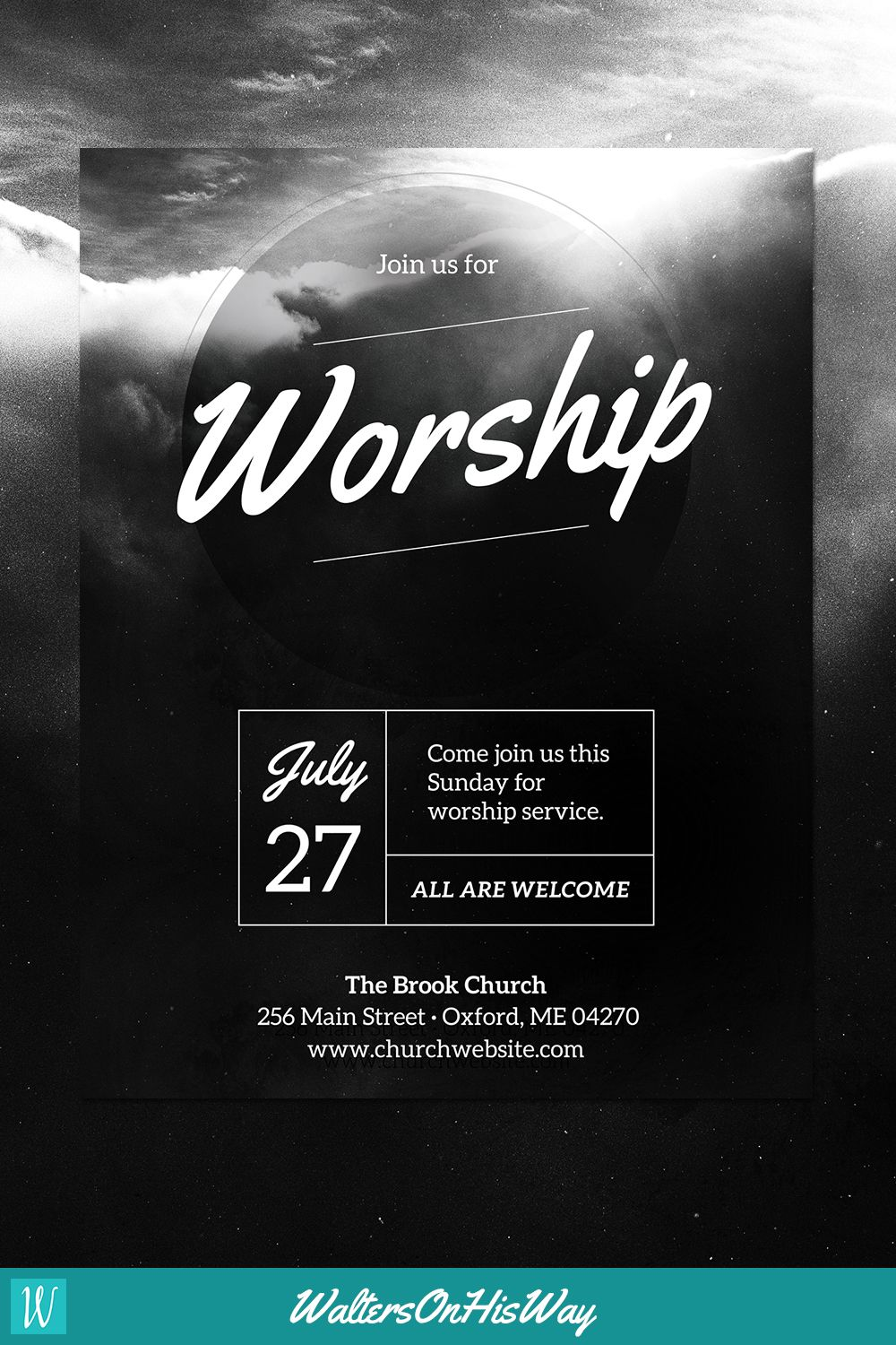 Diy church event flyer template heavenly worship for for Free church flyer templates photoshop